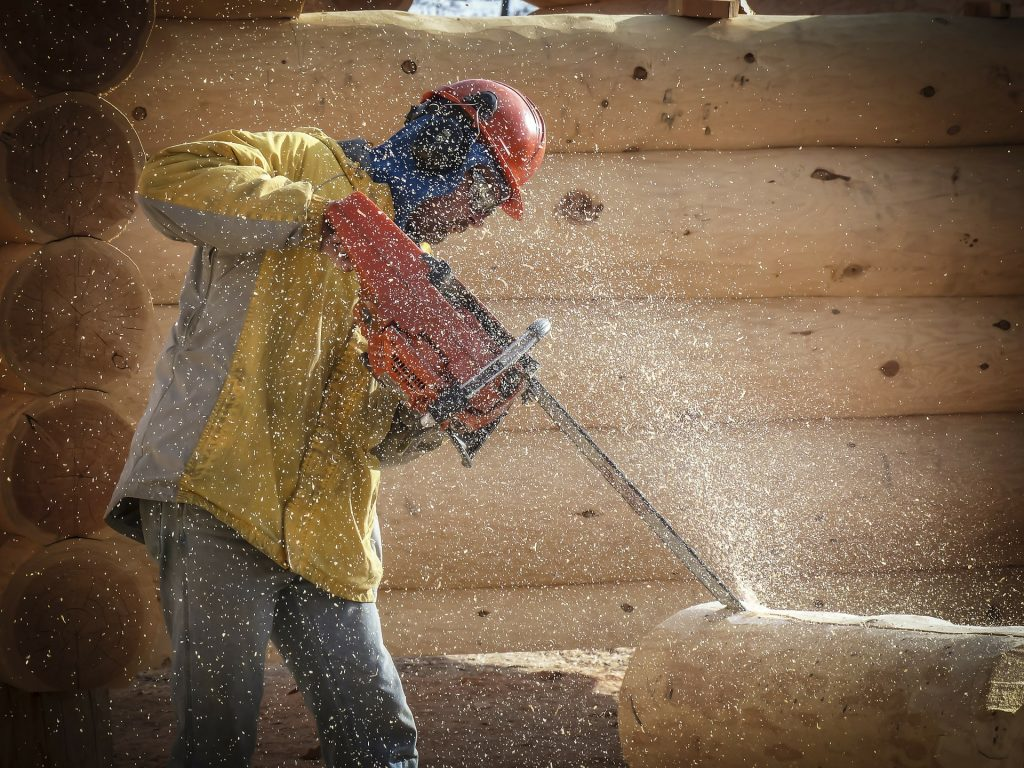 Chainsaw position for safety work