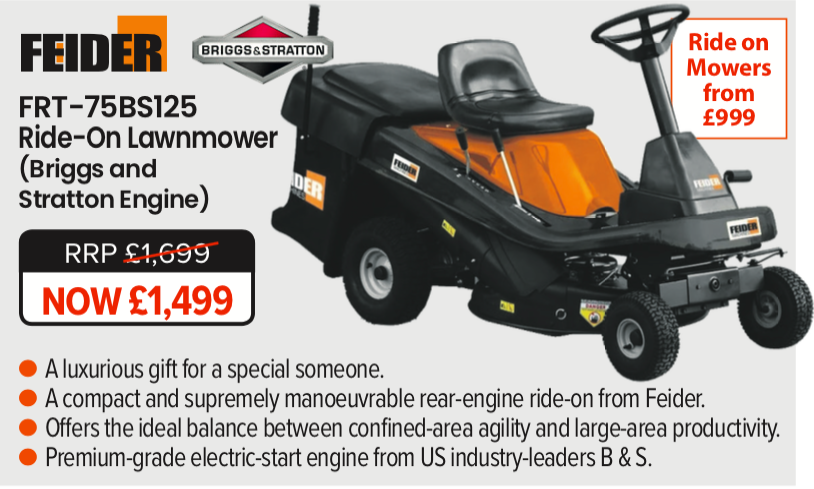 Feider Ride On Lawn Mower - the perfect luxury Christmas Gift for the Garden