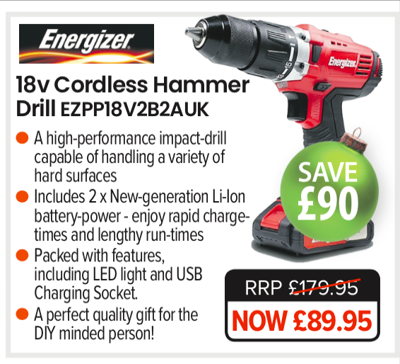 Energizer - 18v Cordless Hammer-Drill - Electric Power Tool - EZPP18V2B2AUK | A high-performance impact-drill capable of handling a variety of hard surfaces New-generation Li-Ion battery-power - enjoy rapid charge-times and lengthy run-times LED lamp illuminates the work-area