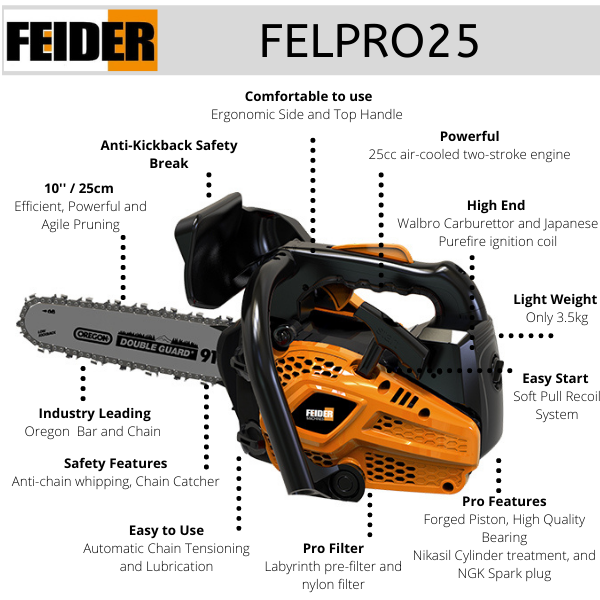 Features of the Feider Pro 25 Top Handle Chainsaw